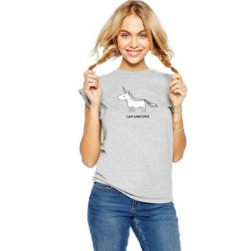Fashion Casual Unicorn Letter Print Short Sleeve Women's T-shirt Tops