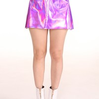 Glitters For Dinner — Made To Order - Pink Holographic Motel Skirt