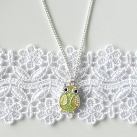 Green and Yellow Owl Necklace, Silver Owl Necklace, best friend necklace, Animal Bird Necklace, Gift under 50, Unique Necklace, gift for her