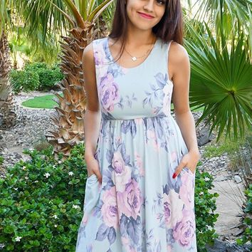Precious Memories Sage Green Floral Print Sleeveless Skater Dress