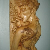 Girl Dragon Tattoo sculpture - Wood sculpture - Hand carved sculpture - Female sculpture - Wooden art - Art - Wall decor - Female artwork