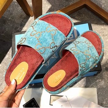 GUCCI new women's GG embroidered letter platform slippers  Shoes Blue