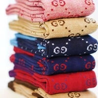 GUCCI Fashion Women Warm Long Socks Letter Print For Girl Full Color I-1