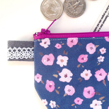 Floral Ditsy Flat Bottom Coin Purse (handmade philosophy's pattern)
