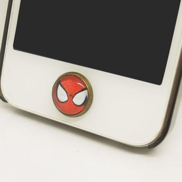 1PC Retro Epoxy Spider Man Transparent Time Gems Alloy  Cell Phone Home Button Sticker Charm for iPhone 4,4s,4g,5,5c