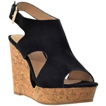 Womens Slingback Peep Toe Cork Wedge Platform Sandals Black