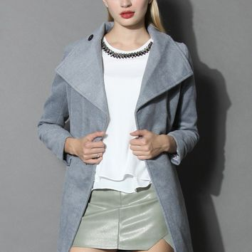 Urban Chic Belted Woolen Coat in Smoke