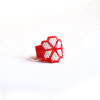 SALE - Peyote Ring, Flower Peyote Custom band ring, Handwoven Ring, Seed bead fashion jewelry for teens, girls - Red, Mint, flower