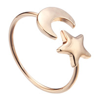 Golden  Crescent Moon &  Little Star  Ring Boho Chic