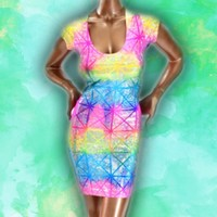 Holographic Rainbow Shattered Glass Bodycon Dress from ☯ harajuku alien ☯
