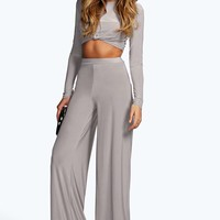 Leah Grey High Waisted Slinky Palazzo Trousers