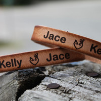 """Custom Engraved Genuine Leather 1/2"""" Cuff Bracelet SET of TWO Bracelets to exchange includes two names and country love deer heart"""