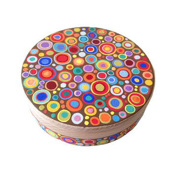 "Hand painted wooden trinket box ""Circles"", jewelry storage, treasure box, wooden jewelry box, gift for Easter"