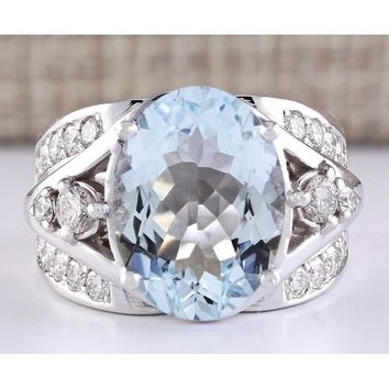 925 sterling silver Natural Gemstone Aquamarine Ring