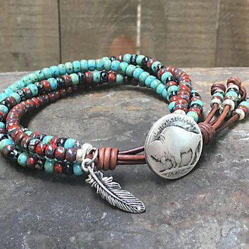 Seed Bead Wrap Bracelet Native American Style For Men And Women/ Beaded Wrap Bracelet/ Southwestern Leather Wrap Bracelet/Boho Wrap Bracelet