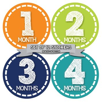 Baby Boy Monthly Baby Stickers - Baby Month Sticker Set of 12