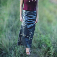 Metallic Leather Maxi Skirt 90s Grunge Size 0