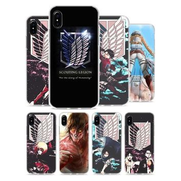 Cool Attack on Titan Transparent Soft Silicone Phone Cases Anime Japanese  Style for Apple iPhone X 8 7 6 6s Plus 5 5S SE 5C AT_90_11