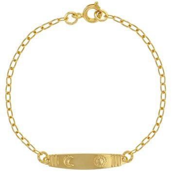 """18k Gold Plated Sun Moon Tag Chain Bracelets for Kids 5.5"""""""