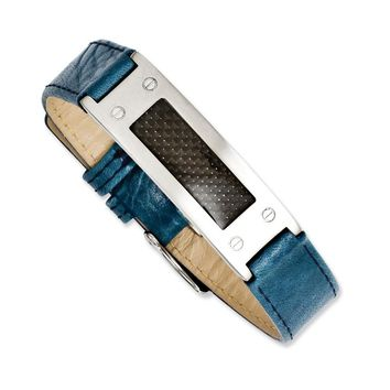 Stainless Steel Textured Blue Leather w/Carbon Fiber Buckle Bracelet