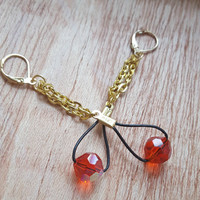 Leather Earrings with Orange Crystal, Simple Earrings, Bright Color, Dangle Earrings  Leverback Style, Gifts for Women