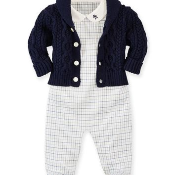 Cable-Knit Sweater, Plaid Overall & Bodysuit Set, Warm White/Blue, Size 3-9 Months,