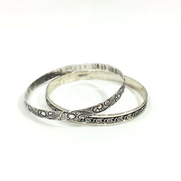 Thin Sterling Stacking Bangles, Pair Danecraft Bracelets, Paisley Pattern, Knot Pattern, Mid Century Jewelry, Vintage Jewelry