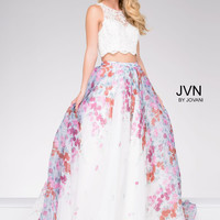 JVN by Jovani 2 Piece Lace Top Patterned Skirt Dress