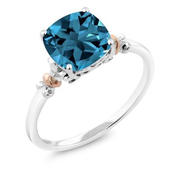 London Blue Topaz, Engagement, Sterling Silver, and 10K Rose Gold Ring, 2.74 Ct Cushion cut