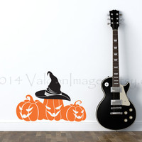 Pumpkin patch and a witches hat vinyl wall decal, home decor, wall art