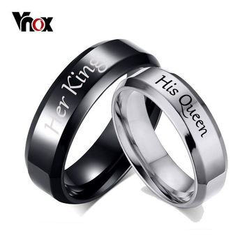 Vnox His Queen Her King Wedding Rings for Women Men Stainless Steel Anniversary Band Valentine's Day Gift Customize Info