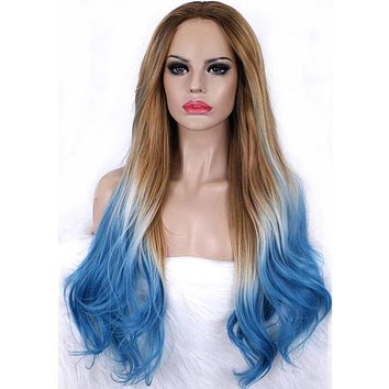 Long Beach Sand To Ocean Blue Ombre Synthetic Lace Front Wig