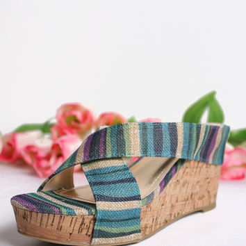 Pattern Crossover Wedges, Blue