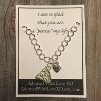 Silver Pizza Best Friend Charm Bracelet