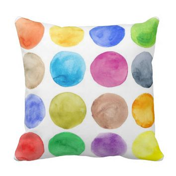 Water colour,big polka dot, funny,cute,girly,trend throw pillows