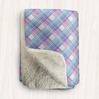Turquoise Blue Pink and White Plaid Sherpa Fleece Blanket