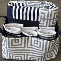 Baby Gift Set, Baby Blanket, Burp Cloths, Fabric Tote, Navy/White/Gray