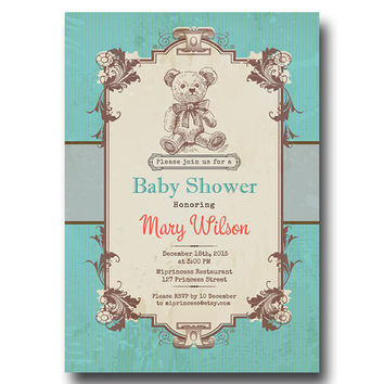 Vintage Bear Baby Shower Invitation Baby boy shower Retro Baby birthday Invitation party Invitation Card Design - card 112