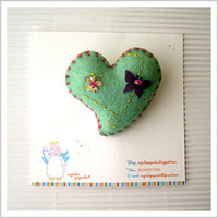 Valentine Green Heart Brooch with Butterfly