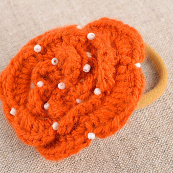 Handmade flower hair scrunchy hair accessories crochet barrette present for girl