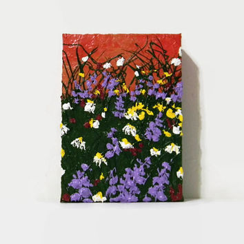 "Wildflowers, Original Acrylic Painting, 5X7"", Flower Painting, Landscape Painting, Small Painting, Wildflower Painting, Abstract Painting"