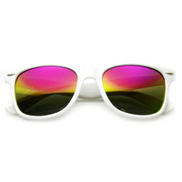 Retro Horned Rime Sunglasses With Flash Mirror Lenses 8075