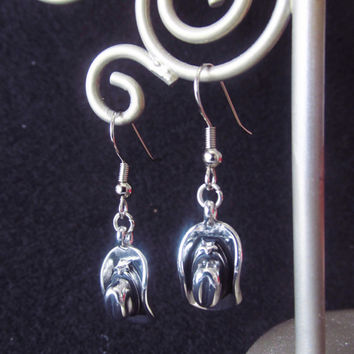 Cowgirl Charm Earrings - Silver Cowgirl Hat Charm Dangle Earrings - Western Jewelry Accessories - Small Handmade Birthday Gifts for Her