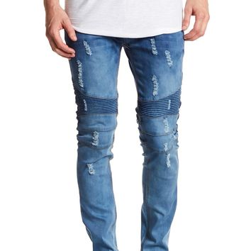 Tailored Recreation Premium Blue Ribbed & Distressed Slim Tapered Denim Pant
