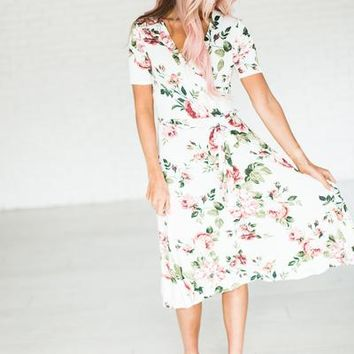 Nora Floral Wrap Dress - Ivory