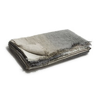 Linen Throw Blanket (Grey Stripe)