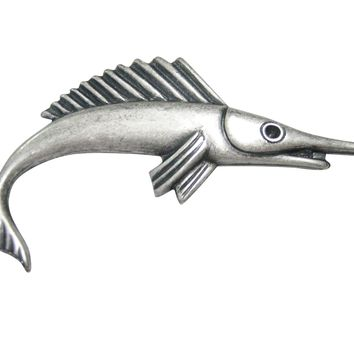 Silver Toned Smooth Marlin Fish Magnet