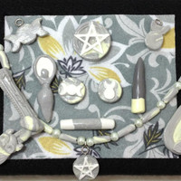 Deluxe Wicca Pagan Pocket Altar Pale Yellow and Gray
