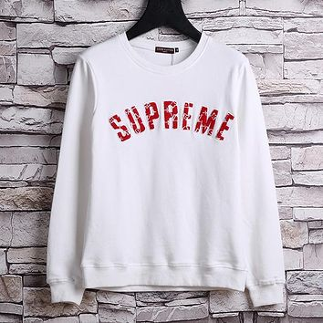 Supreme Casual Scoop Neck Long Sleeve Top Sweater Pullover