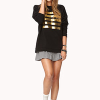 Metallic Striped Pullover